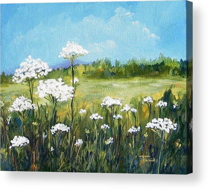 Flowers Acrylic Print featuring the painting Field Of Lace by Torrie Smiley