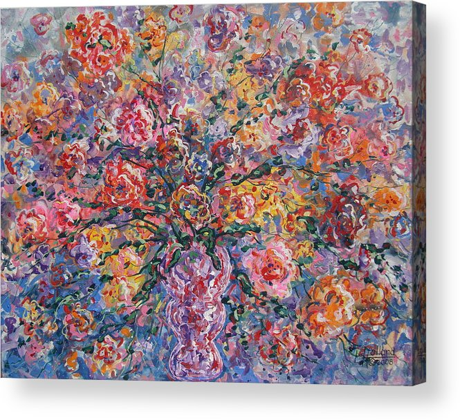 Painting Acrylic Print featuring the painting Floral Melody by Leonard Holland