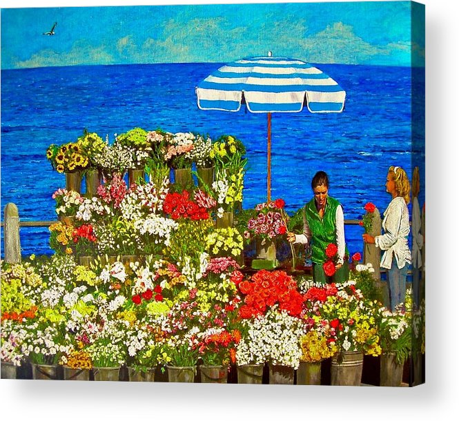 Flower Acrylic Print featuring the painting Flower Vendor In Sea Point by Michael Durst