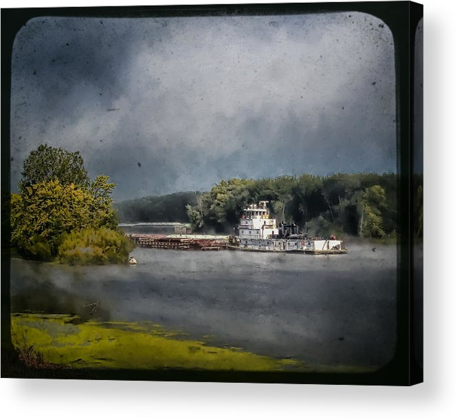 Landscape Acrylic Print featuring the photograph Foggy Morning At The Barge Harbor by Al Mueller