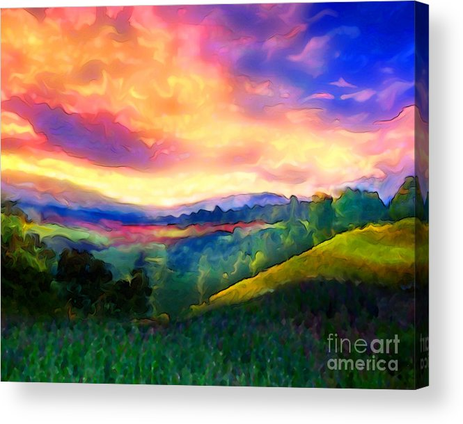 Sunset Acrylic Print featuring the painting Foothills by Mike Massengale