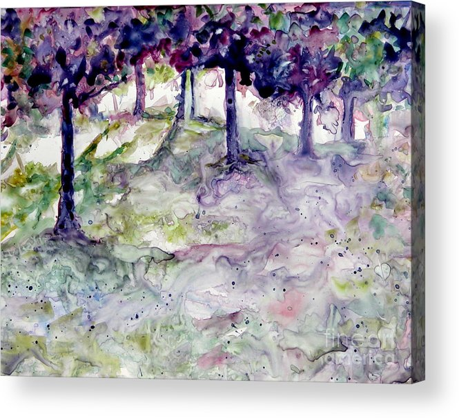 Fastasy Acrylic Print featuring the painting Forest Fantasy by Jan Bennicoff