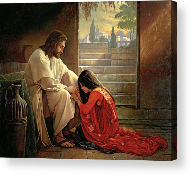 Jesus Acrylic Print featuring the painting Forgiven by Greg Olsen