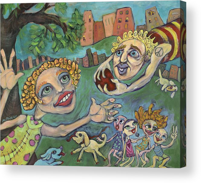 Whimsical Acrylic Print featuring the painting Fun At The Park by Michelle Spiziri