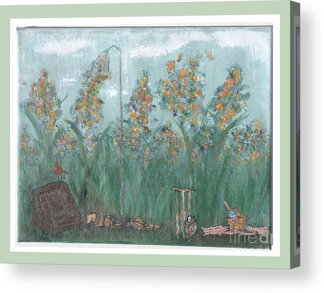 Landscape Acrylic Print featuring the painting Fun In The Weeds by Corri Johanson
