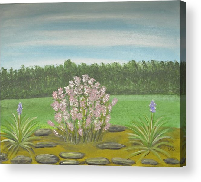Flowers Acrylic Print featuring the painting Garden Wedding by Teresa French McCarthy