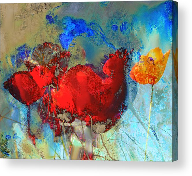Flowers Acrylic Print featuring the painting Gentle Poppies by Anne Weirich