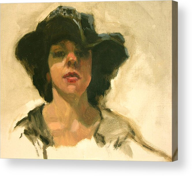 Portrait Acrylic Print featuring the painting Girl In A Floppy Hat by Merle Keller