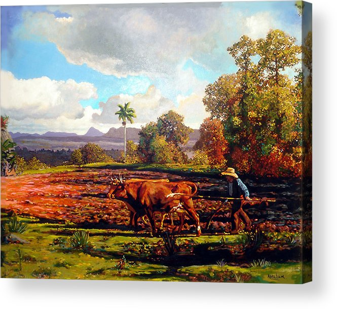 Cuban Art Acrylic Print featuring the painting Grandfather Farm by Jose Manuel Abraham