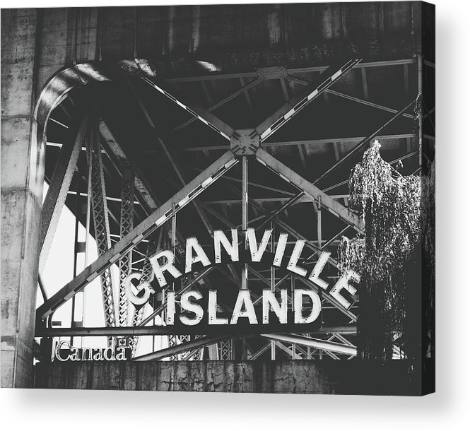 Granville Island Acrylic Print featuring the photograph Granville Island Bridge Black And White- By Linda Woods by Linda Woods