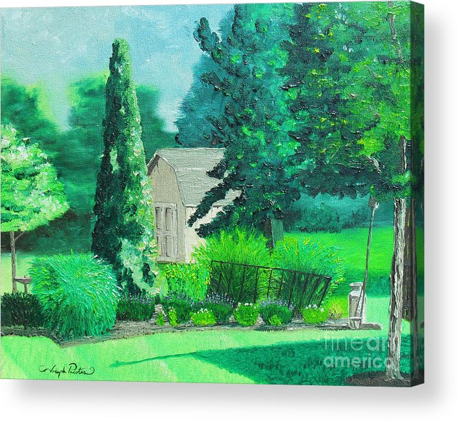 Landscape Acrylic Print featuring the painting Green And Growing by Joseph Palotas