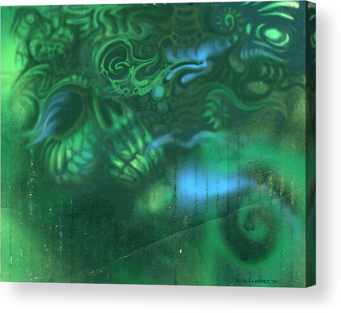 Skull Acrylic Print featuring the painting Greenskull by J P Lambert