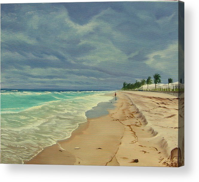 Beach Acrylic Print featuring the painting Grey Day On The Beach by Lea Novak