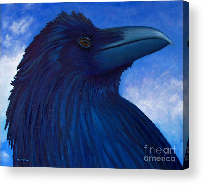 Raven Acrylic Print featuring the painting Heaven Bound by Brian Commerford