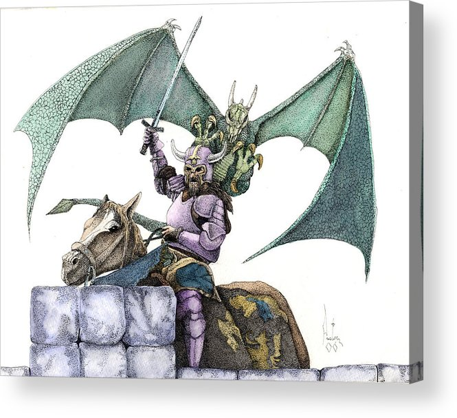Knights Demons Dragons Wizards Magic Pagan Festival Acrylic Print featuring the mixed media Hector by Preston Shupp