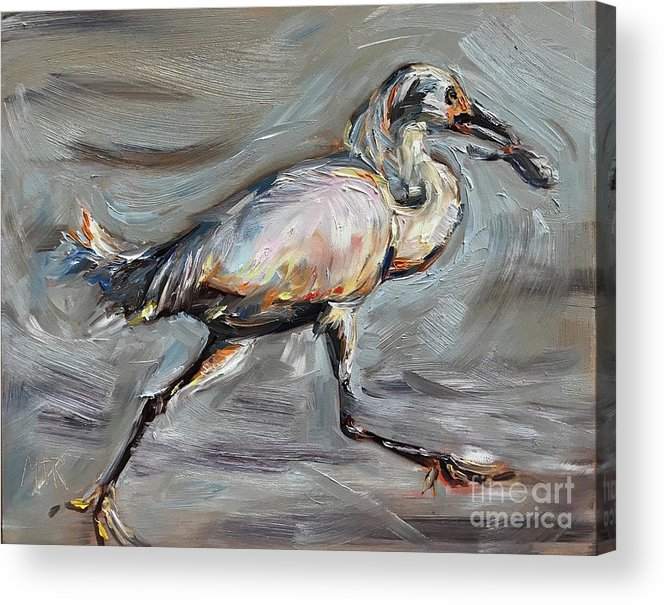 Heron Acrylic Print featuring the painting Heron by Maria Reichert