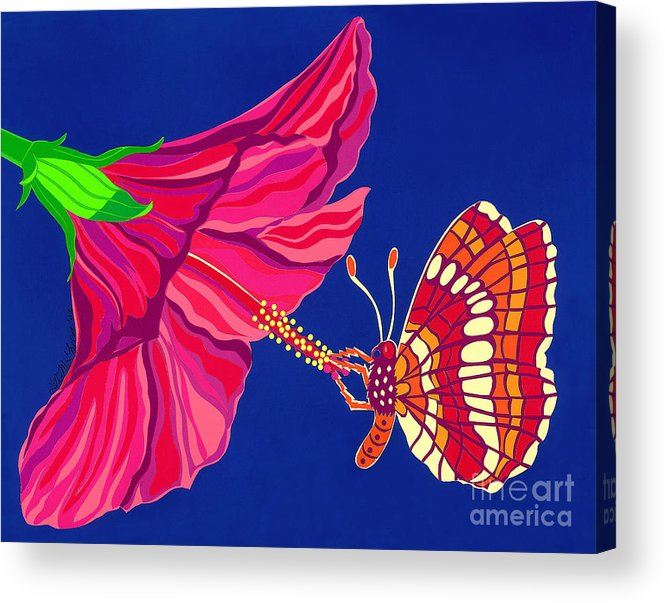 Nature Acrylic Print featuring the drawing Hibiscus And Butterfly by Lucyna A M Green