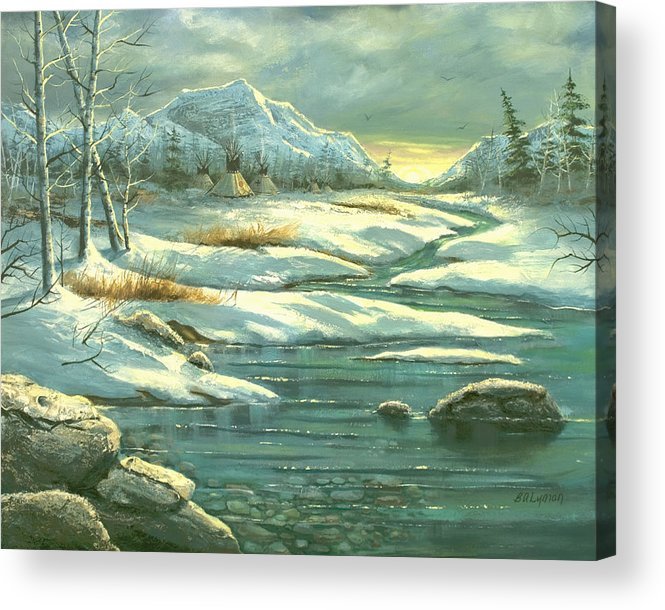 Landscape Acrylic Print featuring the painting High Winter Camp by Brooke Lyman