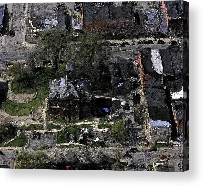 Landscape Acrylic Print featuring the painting Historic Downtown Howell by Donald Pavlica