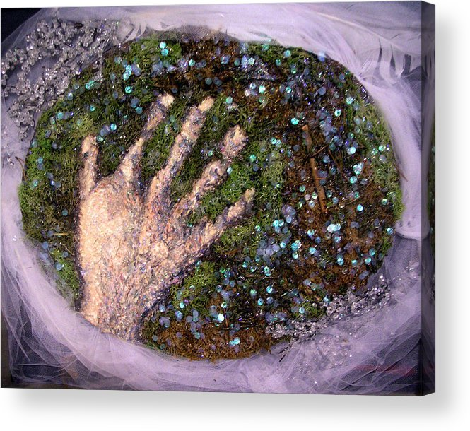 Evocative Espressionism Acrylic Print featuring the mixed media Holding Earth From The Series Our Book Of Common Faith by Stephen Mead