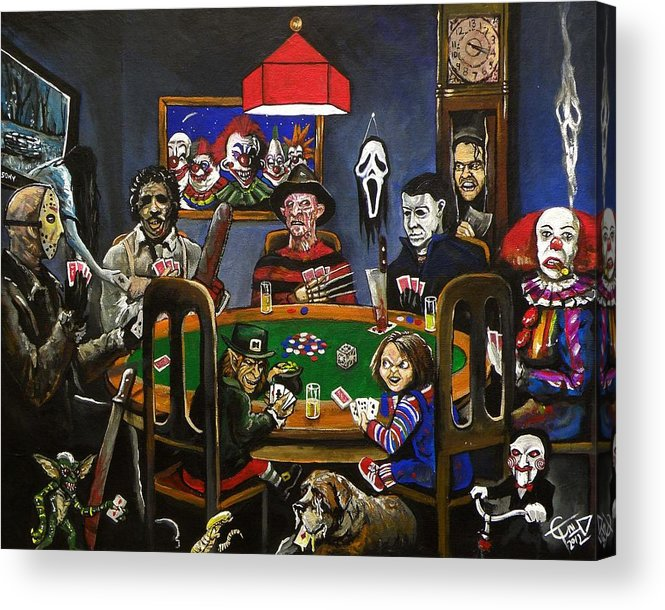 Horror Acrylic Print featuring the painting Horror Card Game by Tom Carlton