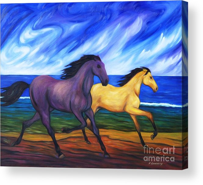 Diconnollyart Acrylic Print featuring the painting Horses Running On The Beach by Dianne Connolly