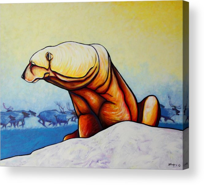 Wildlife Acrylic Print featuring the painting Hunger Burns - Polar Bear And Caribou by Joe Triano