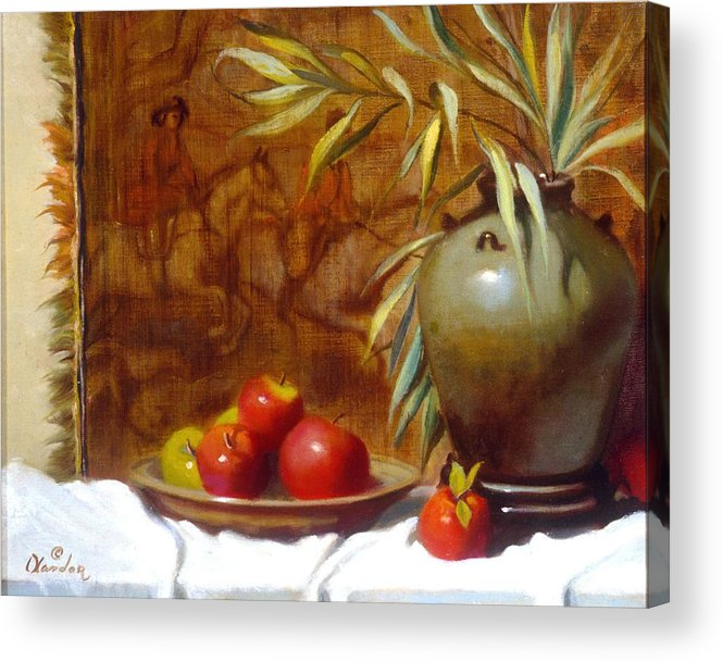 Still Life Acrylic Print featuring the painting Hunting Tapestry With Chinese Vase And Apples by David Olander