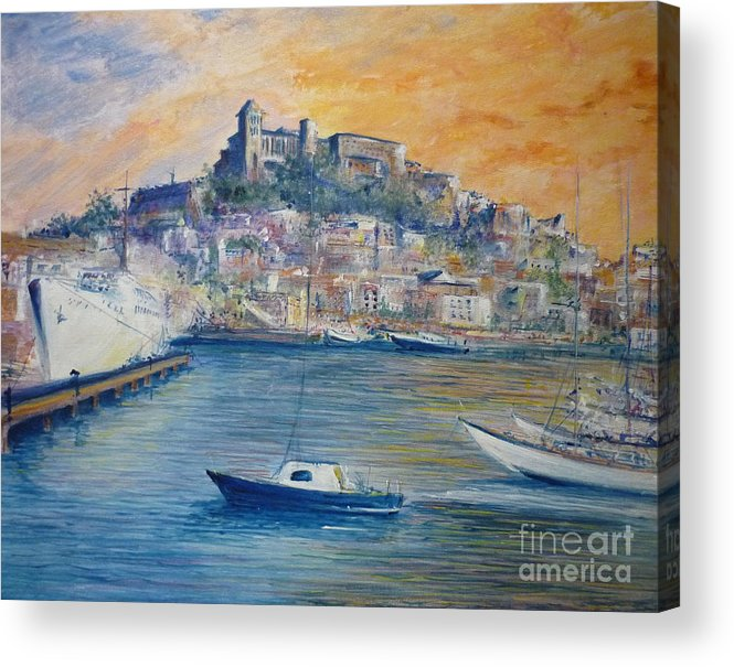Marina Acrylic Print featuring the painting Ibiza Old Town Marina And Port by Lizzy Forrester