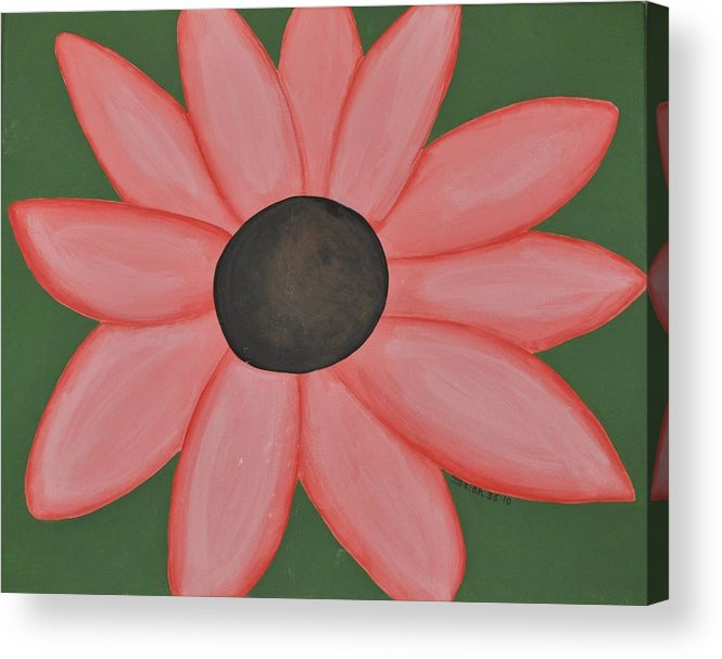 Pink Acrylic Print featuring the painting Isaiah's Flower by Ashlee Tolleson