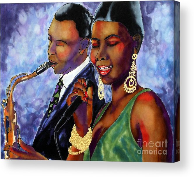 Silk Acrylic Print featuring the painting Jazz Duet by Linda Marcille
