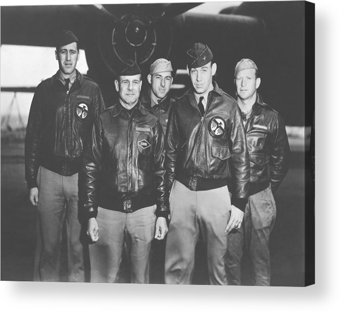 Doolittle Raid Acrylic Print featuring the photograph Jimmy Doolittle And His Crew by War Is Hell Store