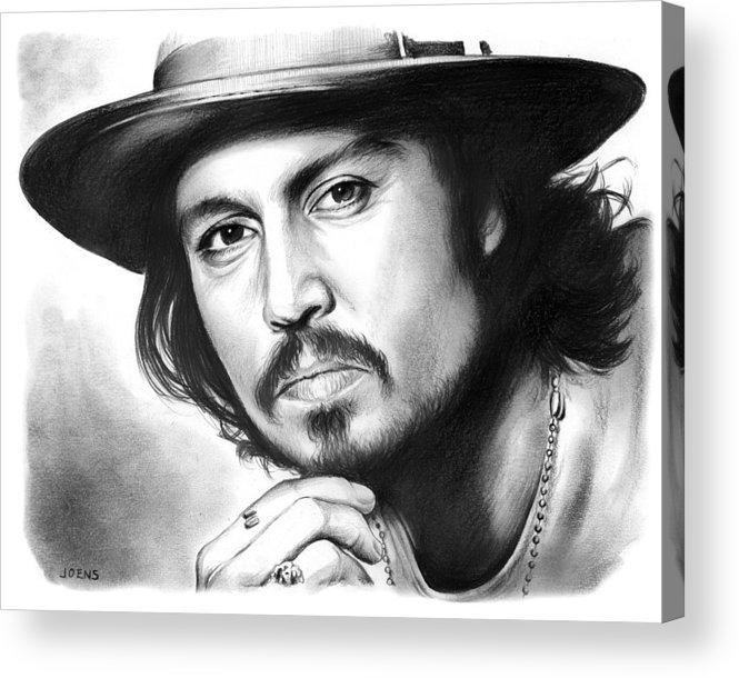 Johnny Depp Acrylic Print featuring the drawing Johnny Depp by Greg Joens