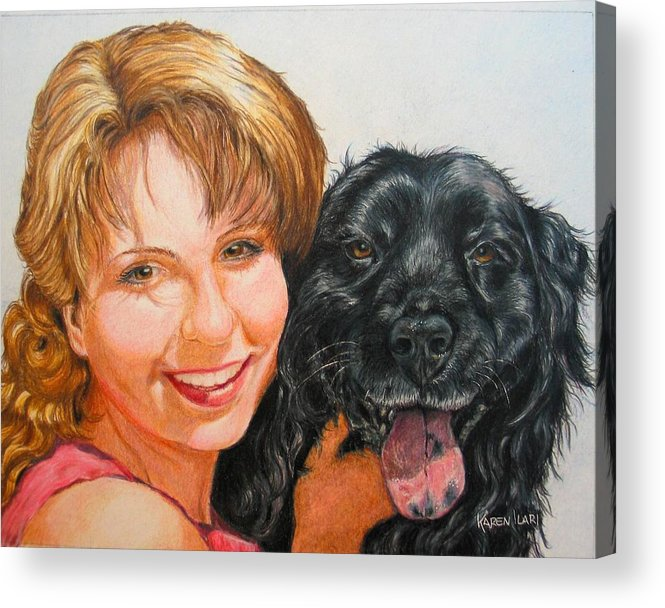 Girls Acrylic Print featuring the drawing Juli And Sam by Karen Ilari