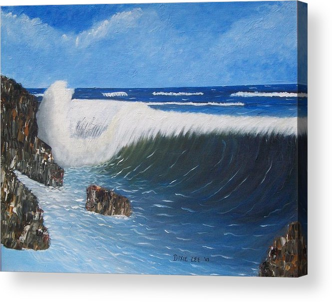 Seascape Acrylic Print featuring the painting Juss Pass Hull Bay by Dixie Lee Hedrington