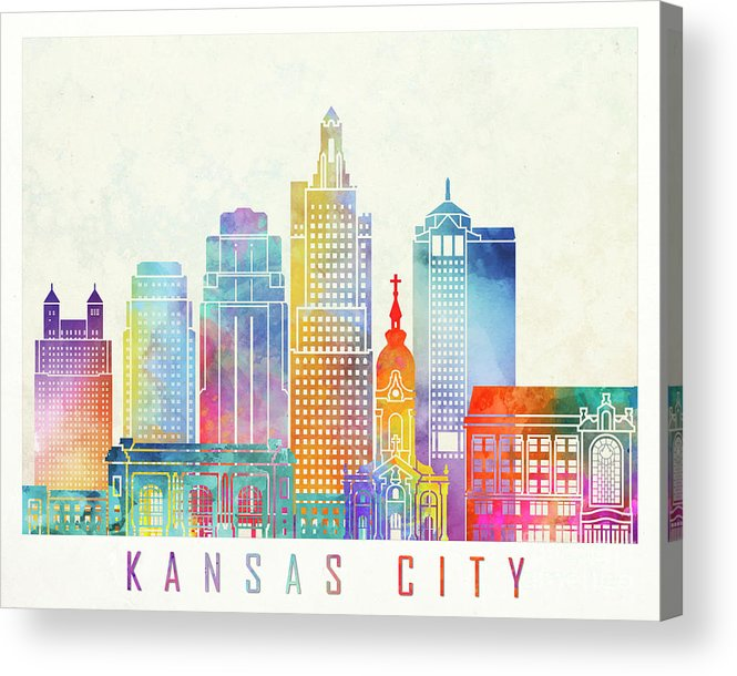 America Acrylic Print featuring the painting Kansas City Landmarks Watercolor Poster by Pablo Romero