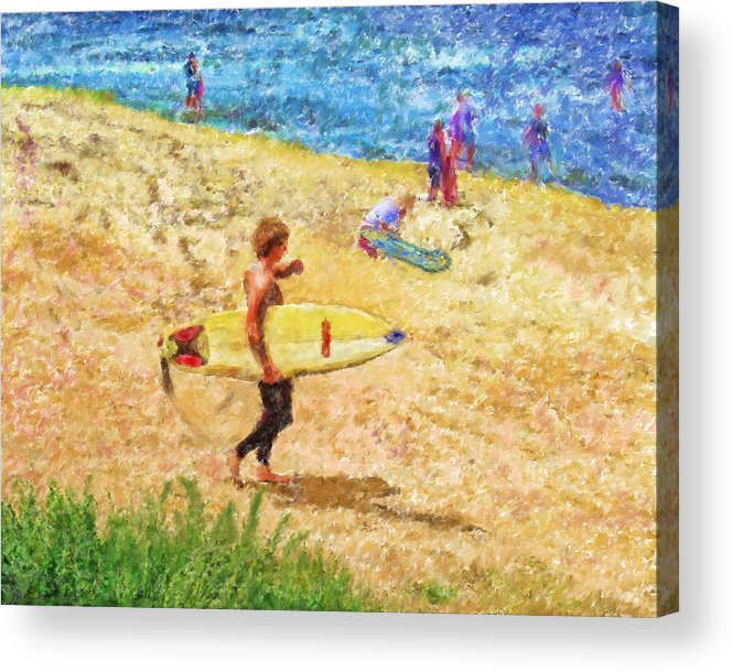 Surfers Acrylic Print featuring the mixed media La Jolla Surfers by Marilyn Sholin