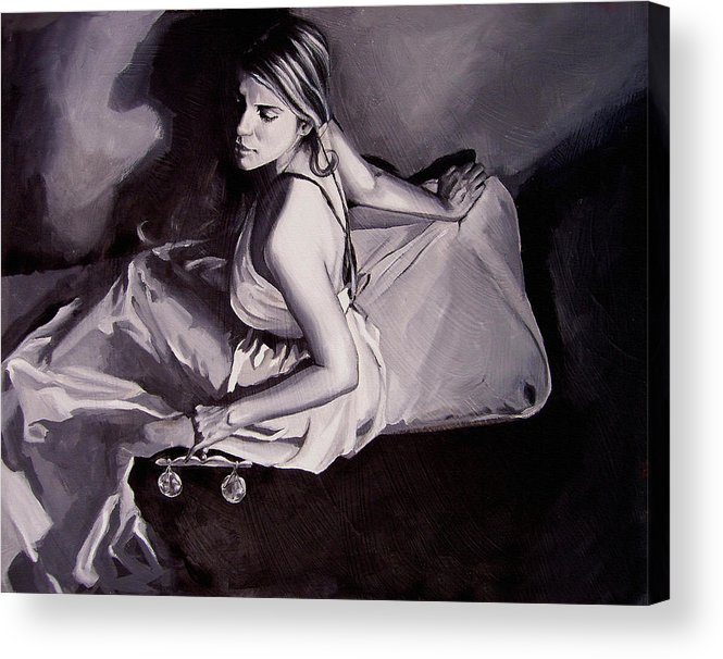 Law Art Acrylic Print featuring the painting Lady Justice Black And White by Laura Pierre-Louis