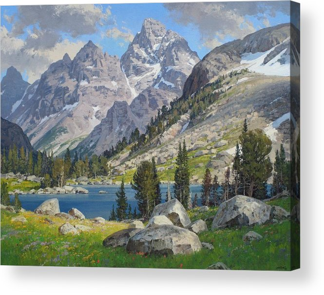 Landscape Acrylic Print featuring the painting Lake Solitude by Lanny Grant