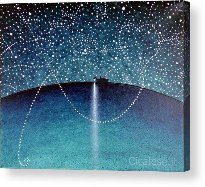 Olio Acrylic Print featuring the painting Lampara 2007 by Gennaro Cicalese