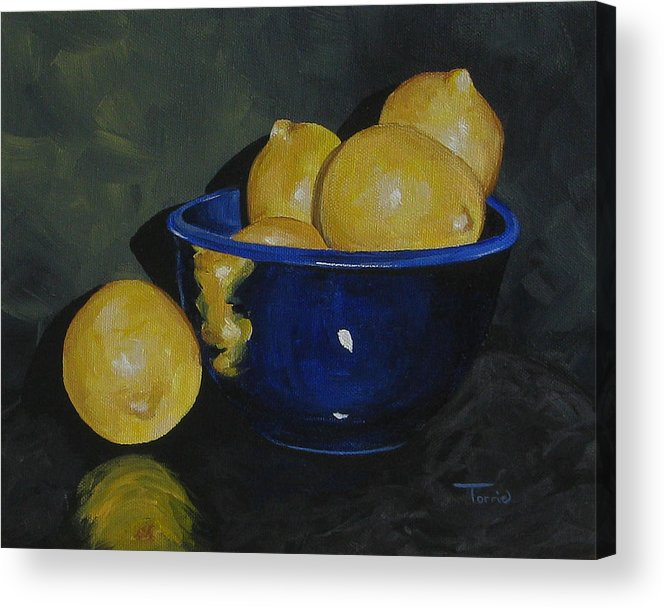 Lemons Acrylic Print featuring the painting Lemons And Blue Bowl IIi by Torrie Smiley
