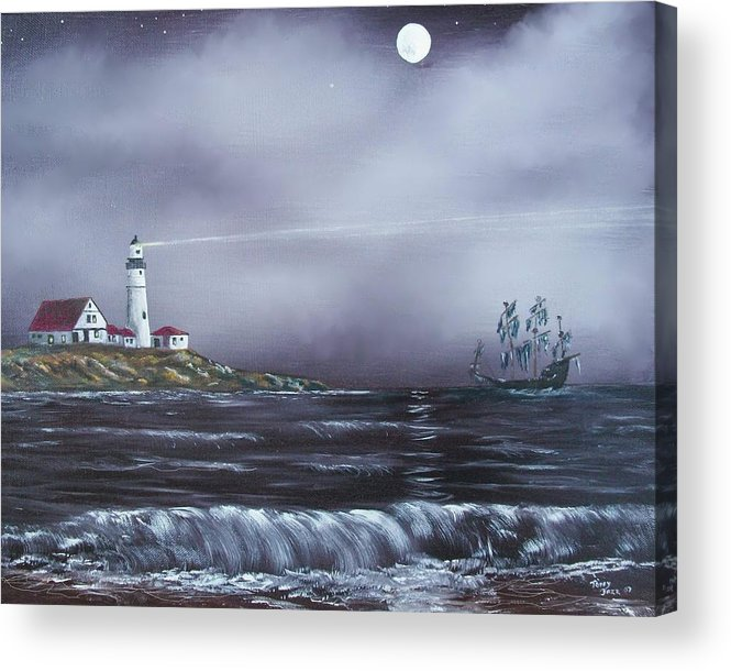 Seascape Acrylic Print featuring the painting Lighthouse by Tony Rodriguez