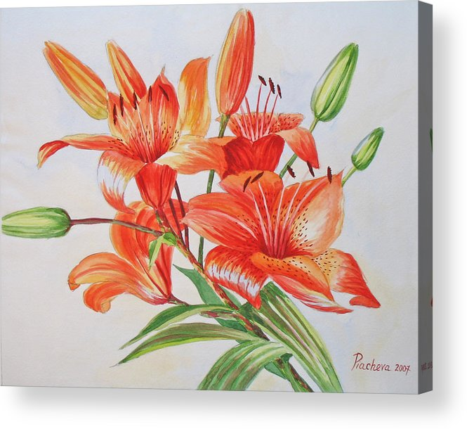 Floral Acrylic Print featuring the painting Lilies.2007 by Natalia Piacheva
