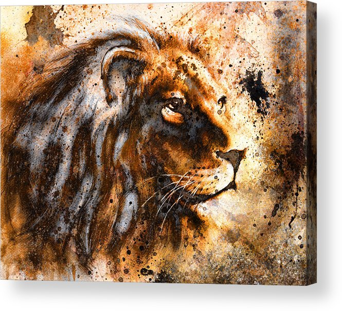 Africa Acrylic Print Featuring The Painting Lion Collage On Color Abstract Background Rust Structure