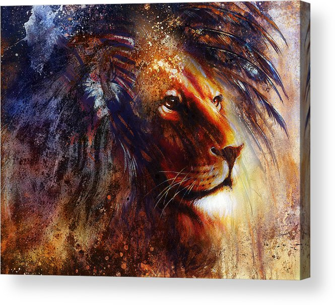 Lion Face Profile Portrait On Colorful Abstract Background Acrylic Print
