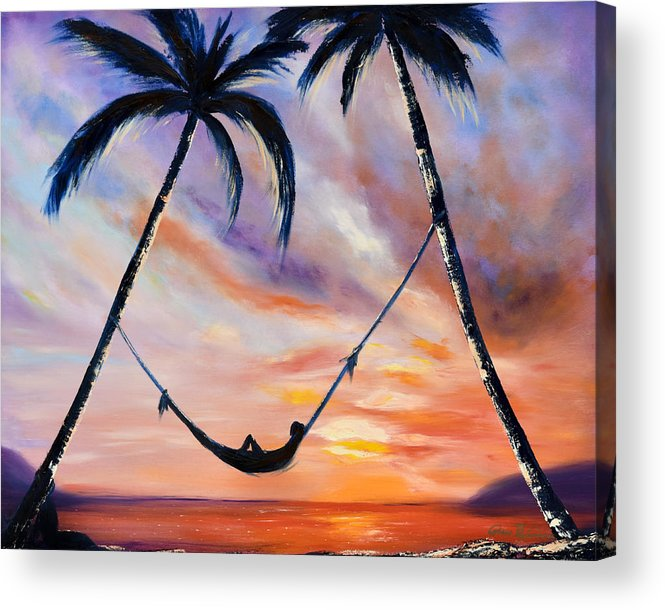 Sunset Acrylic Print featuring the painting Living The Dream by Gina De Gorna
