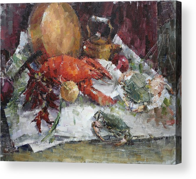 Seafood Acrylic Print featuring the painting Lobsterfest by Dali Higa