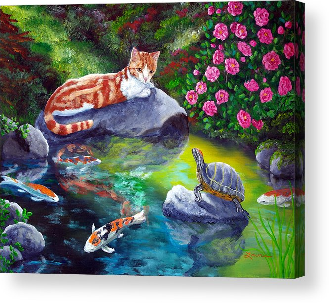 Cat Acrylic Print featuring the painting Loki Meets A Turtle by Laura Iverson