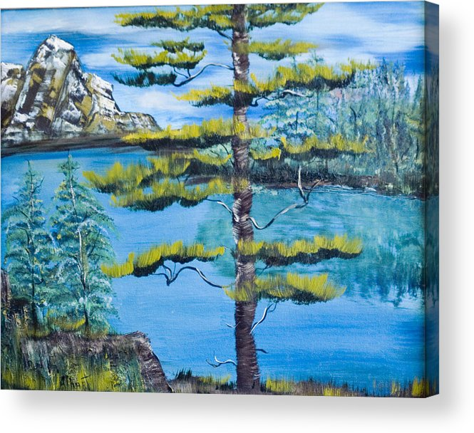 Landscape Acrylic Print featuring the painting Lone Pine by Mikki Alhart