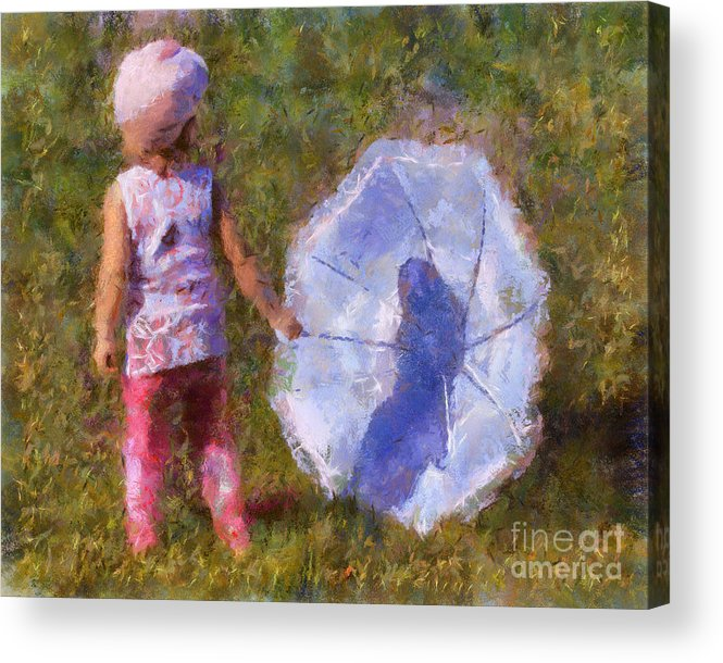 Umbrella Acrylic Print featuring the painting Looking For A Rainbow by Chris Colter